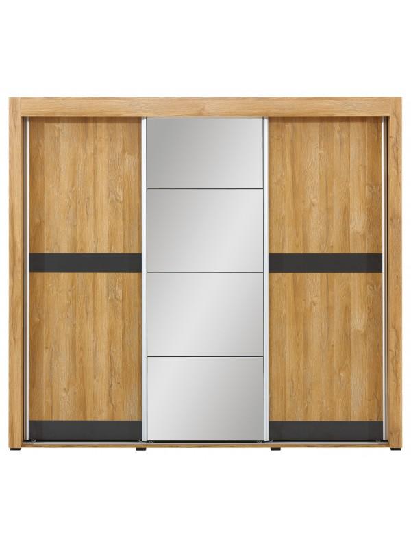 YORK Y/9 Szafa z drzwiami przesuwnymi z lustrem dąb grandson